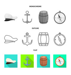 Isolated object journey and seafaring symbol vector