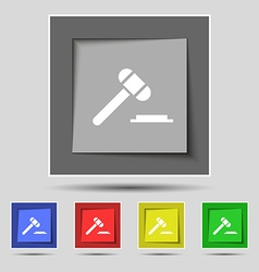 Judge or auction hammer icon sign on original five vector