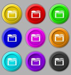 kitchen stove icon sign symbol on nine round vector image