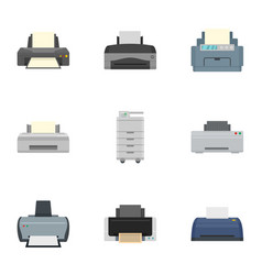 Laser printer icon set flat style vector