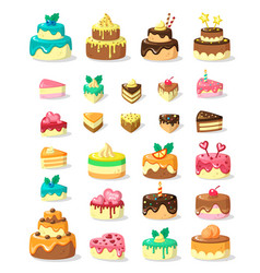 Layered cakes and slices flat vector