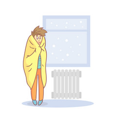 Lazy apathetic young man wrapped in a blanket vector