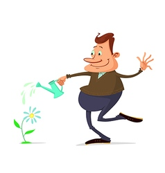 Man watering flower vector