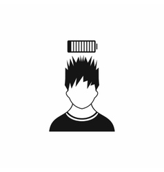 Man with low battery over head icon simple style vector