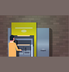 man withdrawing cash via atm automatic teller vector image