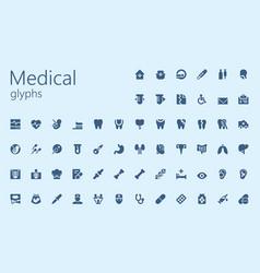 medical easy glyphset vector image
