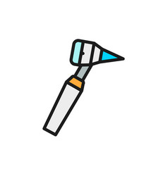 Medical otoscope tool flat color line icon vector