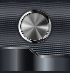 Metal background with round chrome button vector