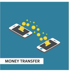 Money transfer isometric template design vector