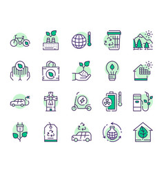 nature conservation green color linear icons set vector image