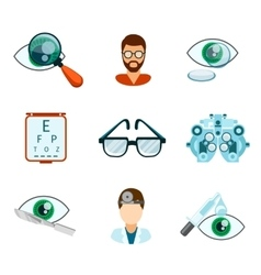 Optometry and optical icons flat set vector