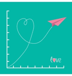 Origami pink paper plane and scale Love card Flat vector