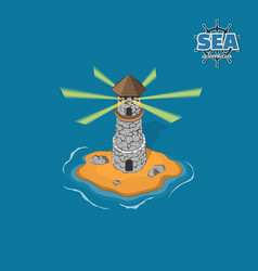 Pirate island with lighthouse on a blue background vector