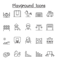 Playground icons set in thin line style vector