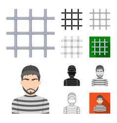 prison and the criminalcartoonblackflat vector image