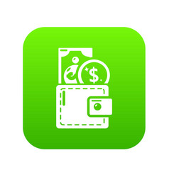 purse icon green vector image