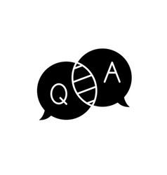 Questions and answers black icon sign on vector
