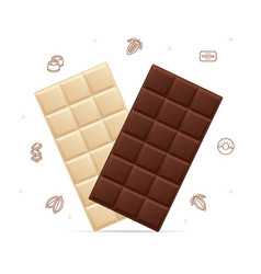 realistic detailed 3d milk and white chocolate set vector image