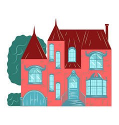Residential house building exterior facade vector