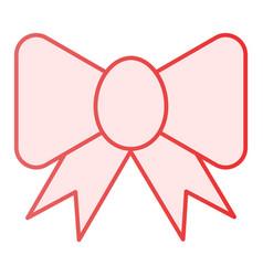Ribbon bow flat icon festive decoration pink vector