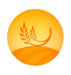 round logo emblem of wheat harvest - label vector image