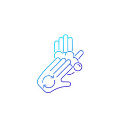 Rub palms with fingers gradient linear icon vector