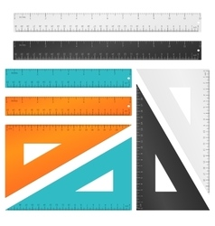 Rulers and triangle with inches centimeters vector image