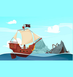 Sailing pirate ship composition vector