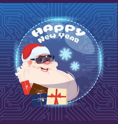 Santa claus wear digital glasses virtual reality vector