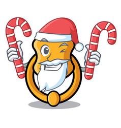 Santa with candy vintage door knocker on mascot vector