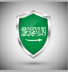 saudi arabia flag on metal shiny shield vector image