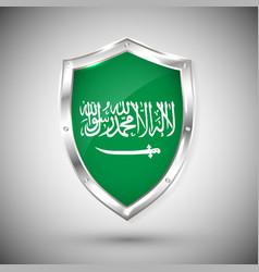 saudi arabia flag on metal shiny shield vector image