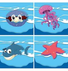 Sea animals under the ocean vector