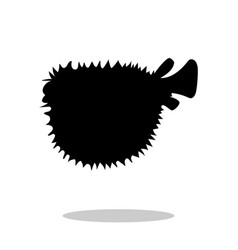 seaurchin fish black silhouette aquatic animal vector image