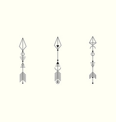 set graphic arrows for tattoo design signs vector image