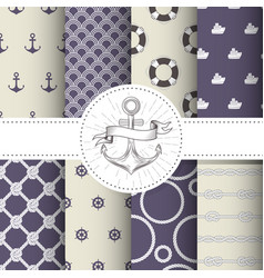 set marine and nautical backgrounds - patterns vector image