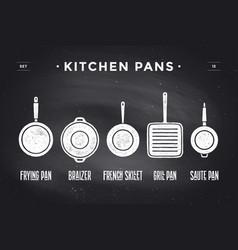 set of kitchen pans poster kitchenware - pans vector image