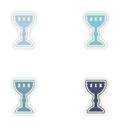 Set of paper stickers on white background holy vector
