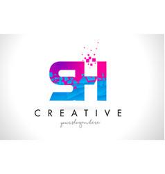 sh s h letter logo with shattered broken blue vector image