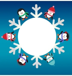 six penguins with snowflake vector image