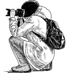 Sketch photographer girl squatting and taking vector