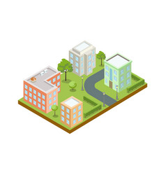 small town architecture isometric icon vector image