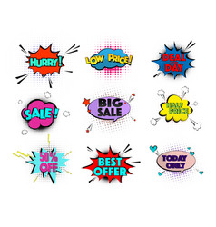 speed comic pop art sale clouds elements vector image