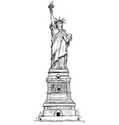 Statue liberty hand drawing vector