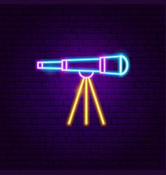 telescope neon label vector image