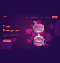 time management isometric man vector image