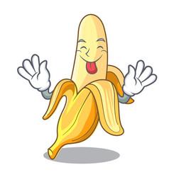 Tongue out tasty fresh banana mascot cartoon style vector