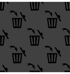 Trash bin web icon flat design Seamless gray vector image