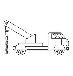 Truck drill icon outline style vector