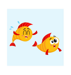 two funny smiling crazy golden fish characters vector image